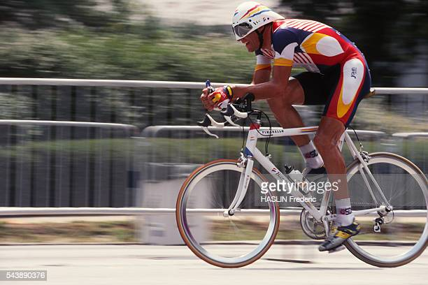 Cyclist Miguel Indurain in a time trial for the 1996 Olympic games