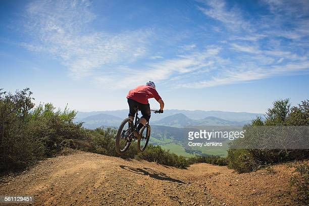 Cyclist mountain biking, San Luis Obispo, California, United States of America