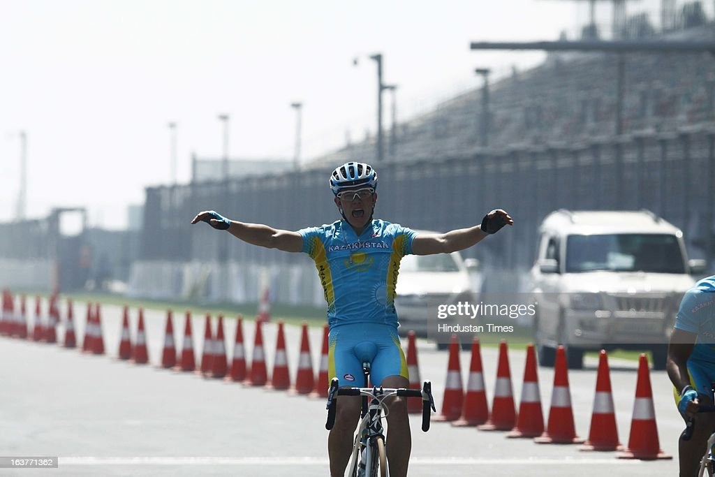 Cyclist of Kazakhstan Rive Dmitrity reacts after winnning Silver Medal in the Individual Road Race – Men Junior for the Asian Cycling Championship Road Race at the Buddh International Circuit on March 15, 2013 in Greater Noida, India.