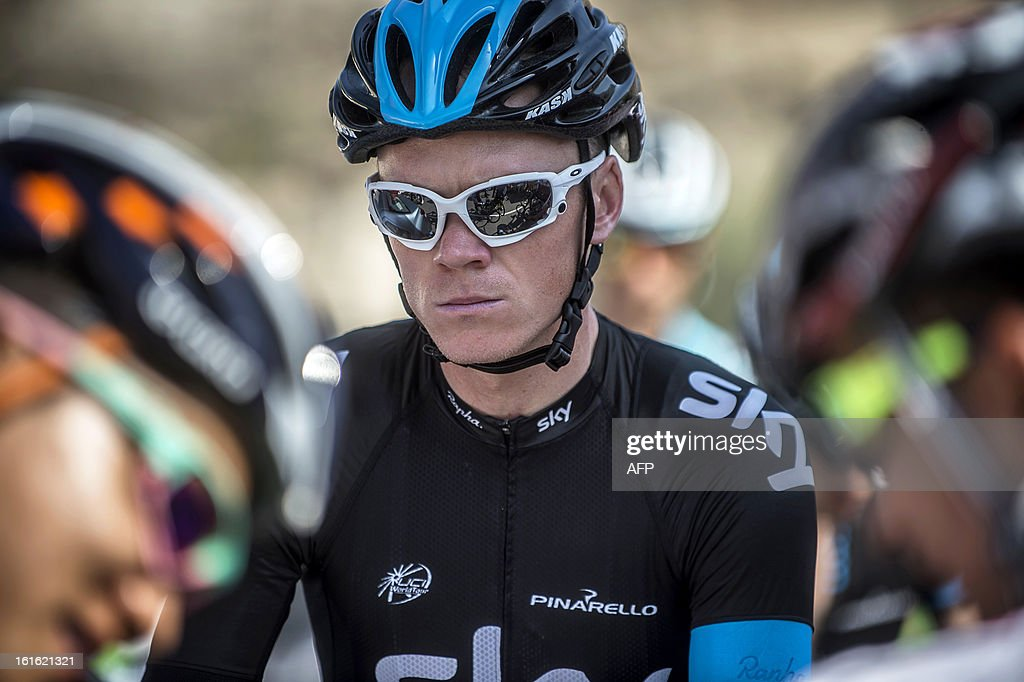 UK cyclist of Sky Pro Cycling team Christopher Froome prepares before the start of the third stage of the Tour of Oman, from Nakhal Fort to Wadi Dayqah Dam, on February 13, 2013, in Oman. The six-stage race, which follows the Tour of Qatar, won by Britain's Mark Cavendish last week, culminates on February 16, at Matra Corniche.