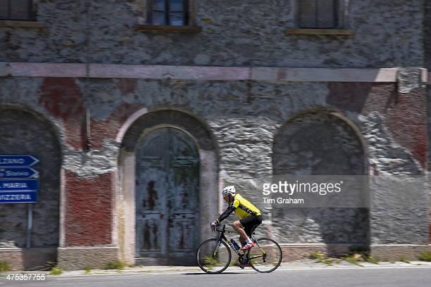 Cyclist on The Stelvio Pass Passo dello Stelvio Stilfser Joch in Northern Italy