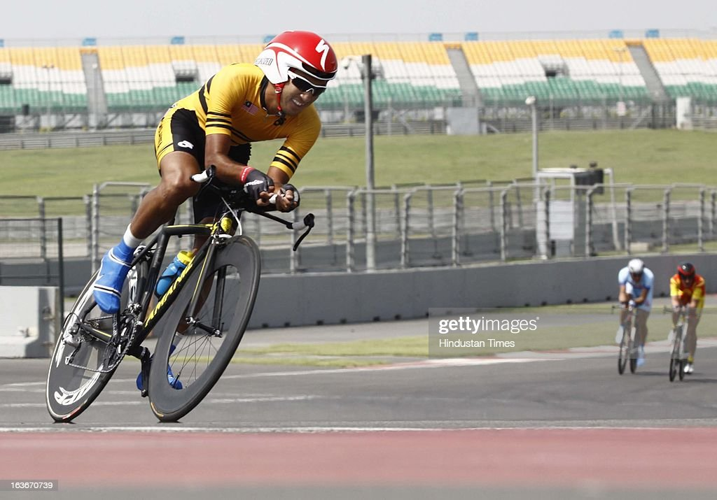 Cyclist participated in the 'Individual Time Trial Men Final' during Asian Cycling Championship Road Race at the Buddh International Circuit on March 14, 2013 in Greater Noida, India.