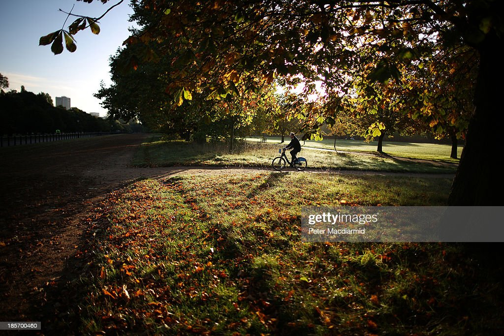 A cyclist passes through Hyde Park on October 24, 2013 in London, England. Fine weather is expected in parts of the United Kingdom today.