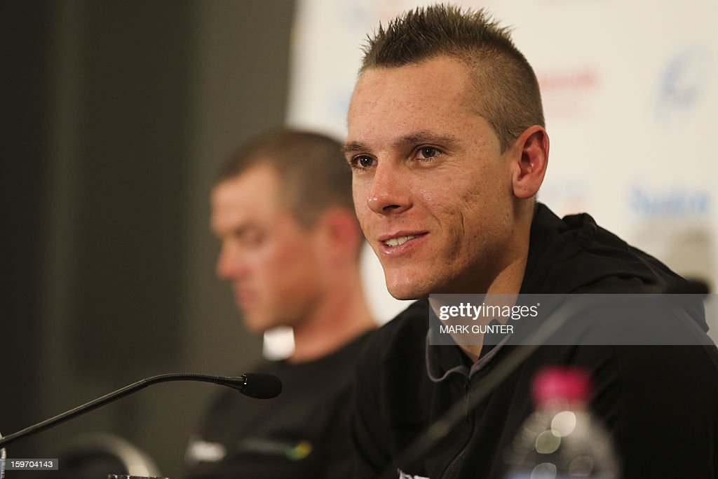 Cyclist Phillip Gilbert from Belgium talks at a press conference prior to the Tour Down Under in Adelaide, on January 19, 2013. The Tour Down Under runs from 20-27 January 2013. IMAGE STRICTLY RESTRICTED TO EDITORIAL USE - STRICTLY NO COMMERCIAL USE AFP PHOTO / Mark Gunter