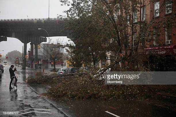 A cyclist photographs a fallen tree in the Gowanus neighborhood of Brooklyn in New York US on Monday Oct 29 2012 Hurricane Sandy the Atlantic's...