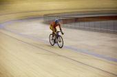 A cyclist practices at the Velodrome in Rio de Janeiro on July 2 2010 in Barra da Tijuca Rio de Janeiro Brazil