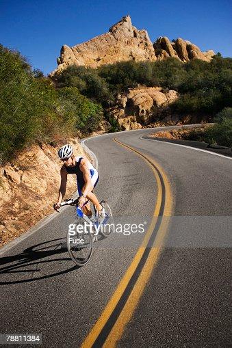 Cyclist Racing in a Triathlon