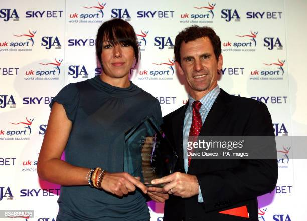 Cyclist Rebecca Romero receives the Champion of Champions award from John Steele Chief Executive of UK Sport during the Sport Journalists'...