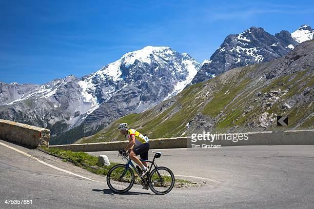 Cyclist rides Scott British roadbike uphill on The Stelvio Pass Passo dello Stelvio Stilfser Joch in the Alps Italy