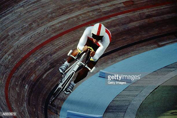 Cyclist riding on indoor track