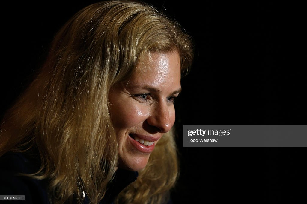 Cyclist <a gi-track='captionPersonalityLinkClicked' href=/galleries/search?phrase=Sarah+Hammer&family=editorial&specificpeople=688673 ng-click='$event.stopPropagation()'>Sarah Hammer</a> addresses the media at the USOC Olympic Media Summit at The Beverly Hilton Hotel on March 9, 2016 in Beverly Hills, California.