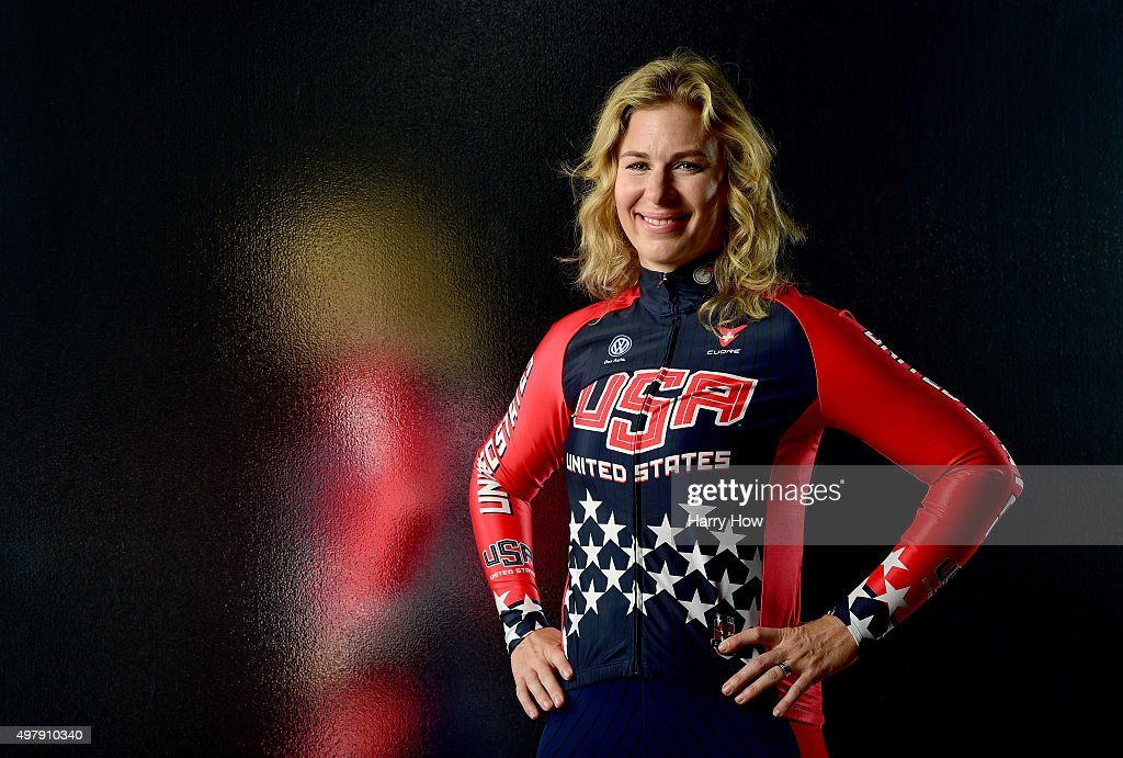 Cyclist <a gi-track='captionPersonalityLinkClicked' href=/galleries/search?phrase=Sarah+Hammer&family=editorial&specificpeople=688673 ng-click='$event.stopPropagation()'>Sarah Hammer</a> poses for a portrait at the USOC Rio Olympics Shoot at Quixote Studios on November 19, 2015 in Los Angeles, California.