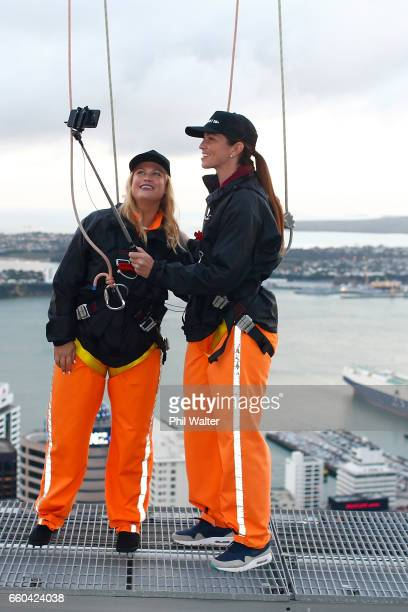 Cyclist Sarah Walker and Kathryn Wilson take a selfie on the Samsung S8 on the Skywalk during the Samsung Galaxy Unpacked Launch on March 30 2017 in...