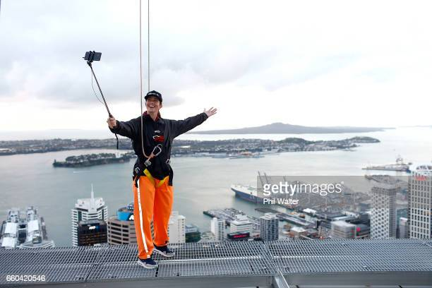 Cyclist Sarah Walker takes a selfie on the Samsung S8 on the Skywalk during the Samsung Galaxy Unpacked Launch on March 30 2017 in Auckland New...