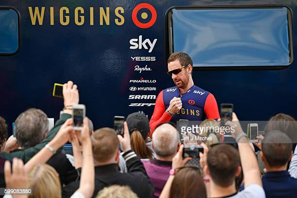 Cyclist Sir Bradley Wiggins leaves his trailor prior to the start of stage 1 of the Tour of Britain from Glasgow to Castle Douglas on September 4...