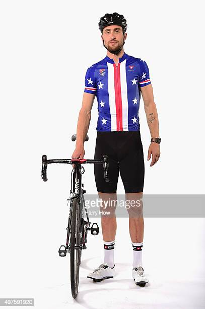 Cyclist Taylor Phinney poses for a portrait at the USOC Rio Olympics Shoot at Quixote Studios on November 17 2015 in Los Angeles California