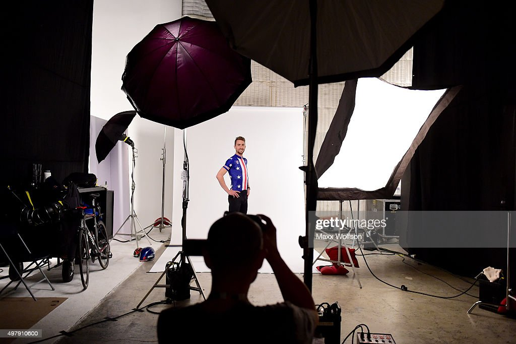 Cyclist <a gi-track='captionPersonalityLinkClicked' href=/galleries/search?phrase=Taylor+Phinney&family=editorial&specificpeople=4645036 ng-click='$event.stopPropagation()'>Taylor Phinney</a> poses for a portrait taken by Getty Images staff photographer Harry How at the USOC Rio Olympics Shoot at Quixote Studios on November 17, 2015 in Los Angeles, California.