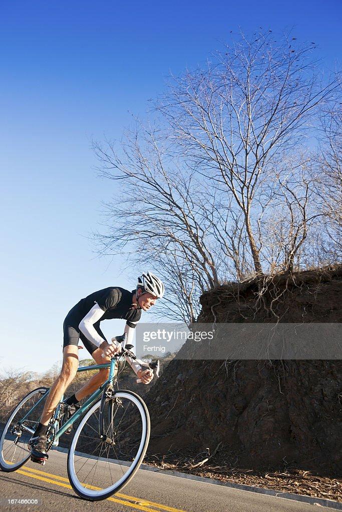 Cyclist training hard