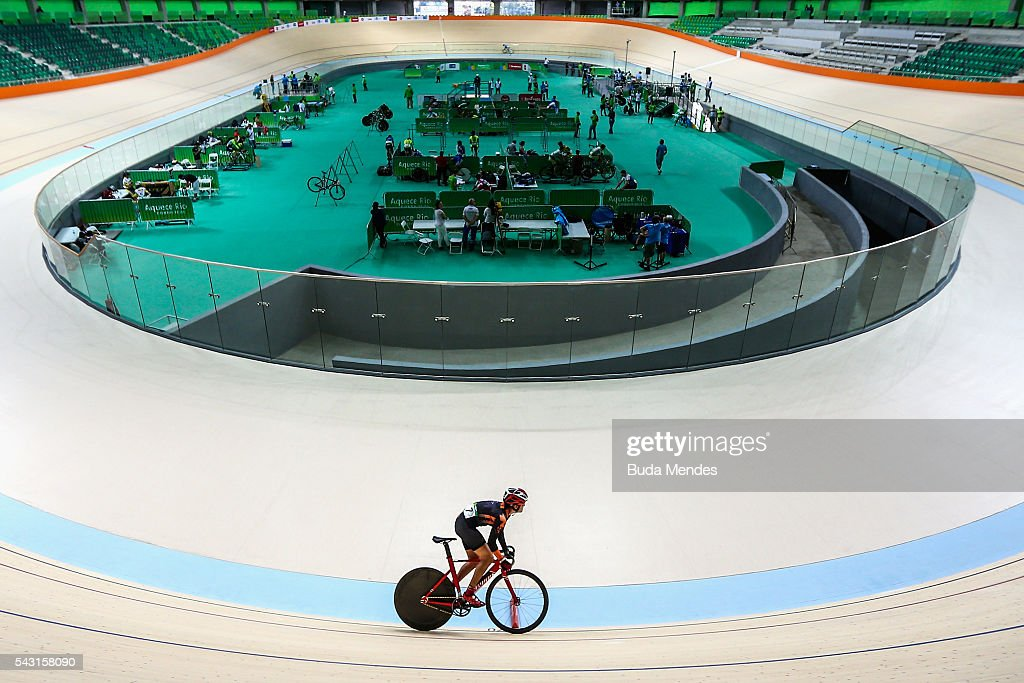 A cyclist trains at the newly delivered Olympic Velodrome at Olympic Park on June 26, 2016 in Rio de Janeiro, Brazil.