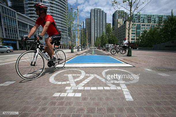 A cyclist uses the newly opened bike lanes on Queens Quay between Yonge and Bathurst