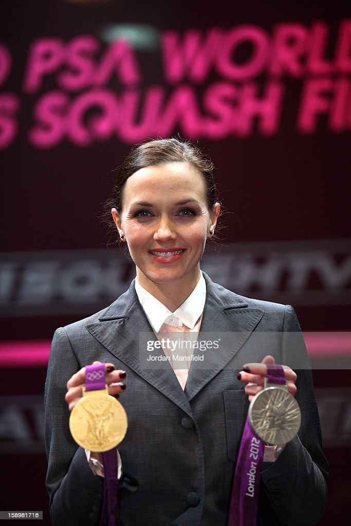 Cyclist Victoria Pendleton holds her Olympic medals during Day 3 of the World Series Finals held at Queens Club on January 4, 2013 in London, England.