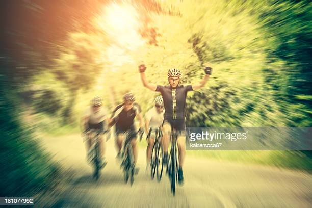 Cyclist winning a bicycle race