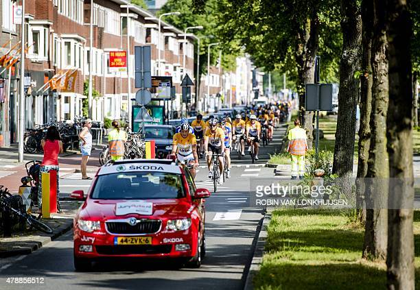 Cyclists approximately 13000 participants explore the course for the 102nd edition of the Tour de France in Utrecht The Netherlands on June 28 2015...