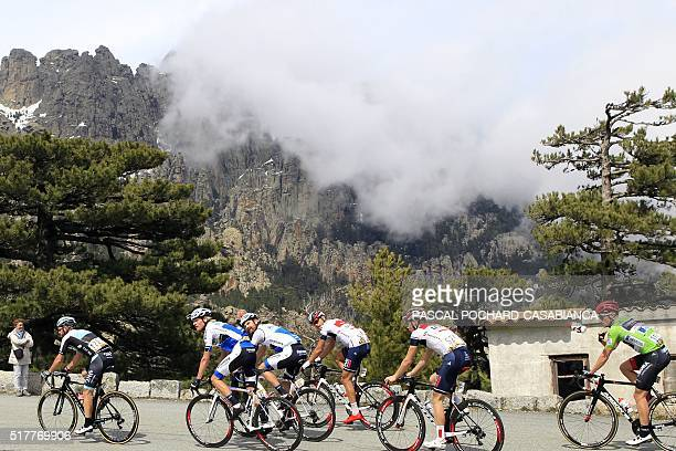 Cyclists climb the Bavella col during the third and last stage of the 85th International Criterium of Porto Vecchio on March 27 2016 in Porto Vecchio...