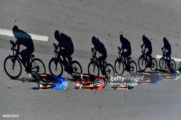 Cyclists compete during Stage 1 of the 53rd Presidential Cycling Tour of Turkey 2017 Alanya to Kemer on October 10 2017 in Alanya Turkey