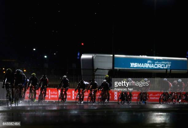 Cyclists compete during stage four of the 2017 Abu Dhabi Tour at Yas Marina Circuit on February 26 2017 in Abu Dhabi United Arab Emirates