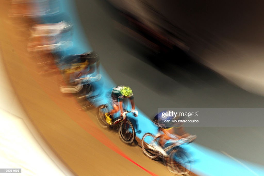 Cyclists compete during the Rotterdam 6 Day Cycling at Ahoy Rotterdam on January 6, 2013 in Rotterdam, Netherlands.