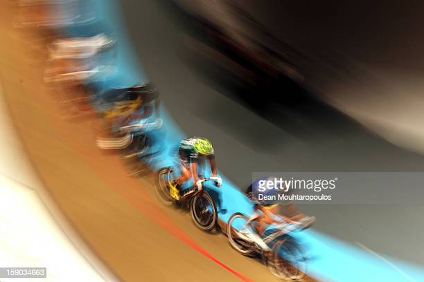 Cyclists compete during the Rotterdam 6 Day Cycling at Ahoy Rotterdam on January 6 2013 in Rotterdam Netherlands