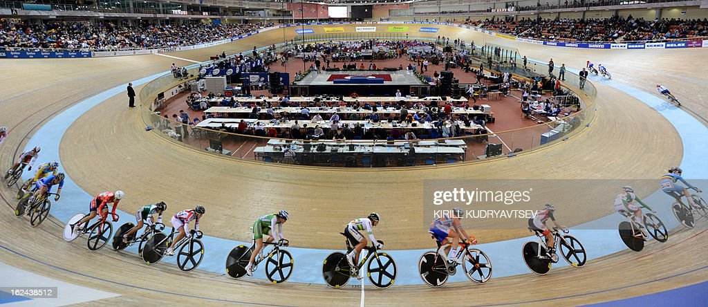 Cyclists compete during the UCI Track Cycling World Championships Women's 25 km Point Race in Belarus' capital of Minsk on February 23, 2013.