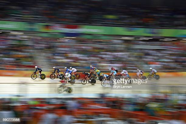 Cyclists compete during the Women's Omnium Points race on Day 11 of the Rio 2016 Olympic Games at the Rio Olympic Velodrome on August 16 2016 in Rio...