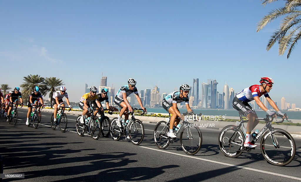 Cyclists compete in the last stage of the 2013 Tour of Qatar, from Cyline beach to the Doha Cornich, on February 8, 2013. Isle of Man racer Mark Cavendish, of the Omega Pharma team, sealed overall victory on the Tour of Qatar after winning the sixth and final stage.
