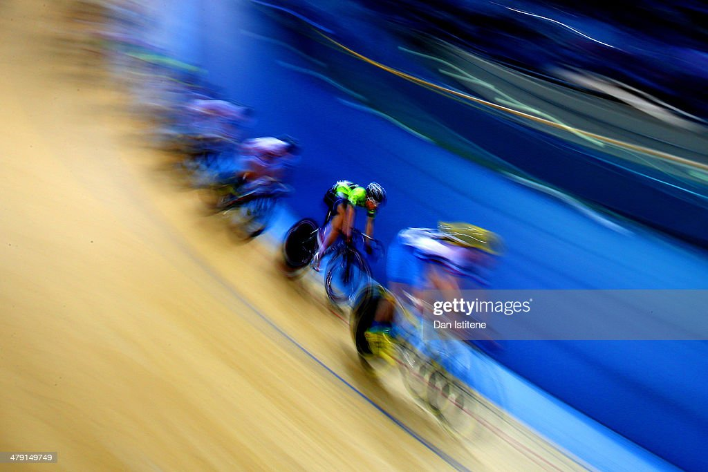 Cyclists compete in the Men's UCI Scratch Race (15km) during Revolution 5 at the Velodrome in the Lee Valley Velopark on March 15, 2014 in London, England.