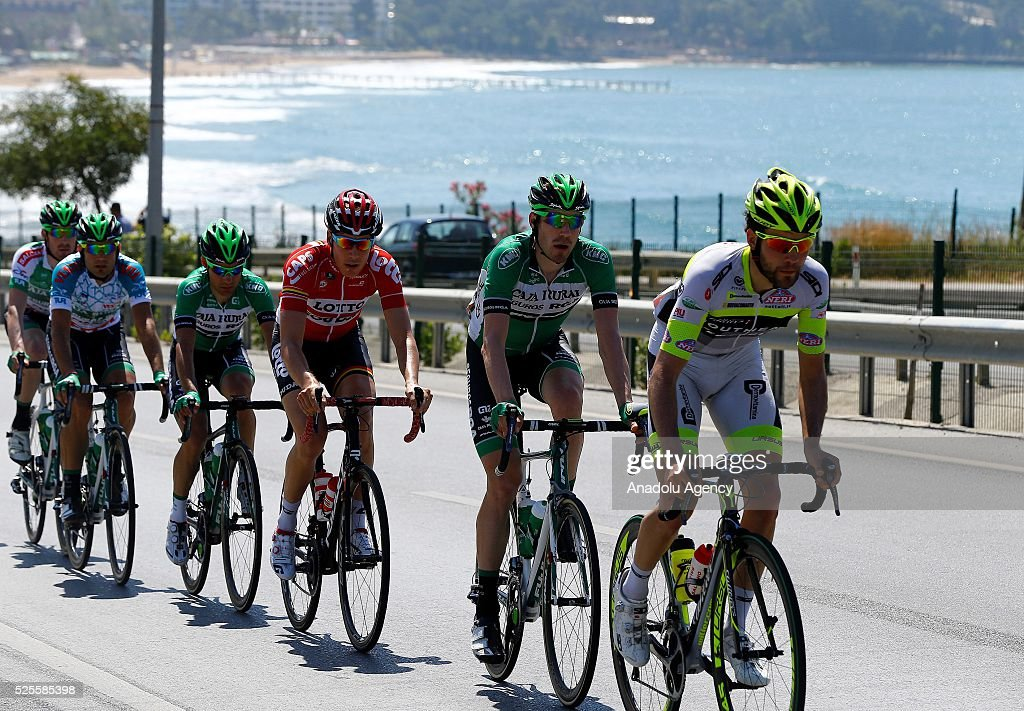 Cyclists compete in the stage of Alanya-Kemer lap of the 52nd Presidential Cycling Tour of Turkey in Antalya, Turkey on April 28, 2016.