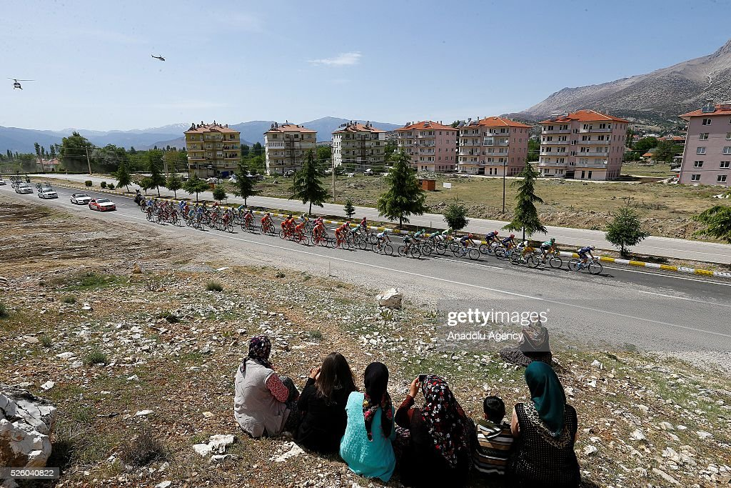 Cyclists compete in the stage of Kumluca - Elmal lap of the 52nd Presidential Cycling Tour of Turkey in Antalya, Turkey on April 29, 2016.