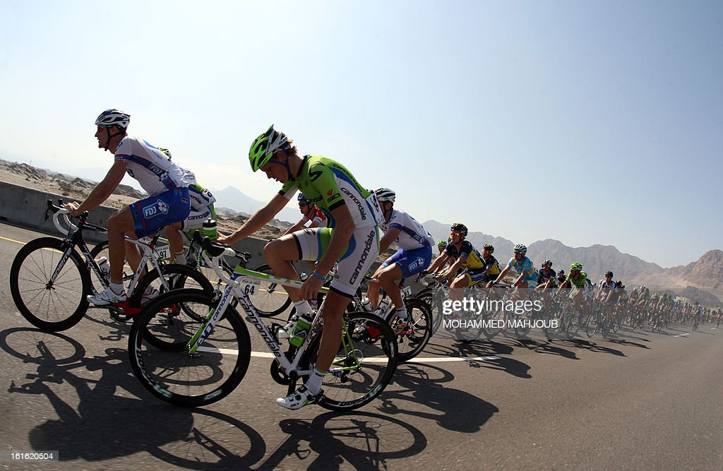 Cyclists compete in the third stage of the Tour of Oman, from Nakhal Fort to Wadi Dayqah Dam, on February 13, 2013, in Oman. The six-stage race, which follows the Tour of Qatar, won by Britain's Mark Cavendish last week, culminates on February 16, at Matra Corniche.