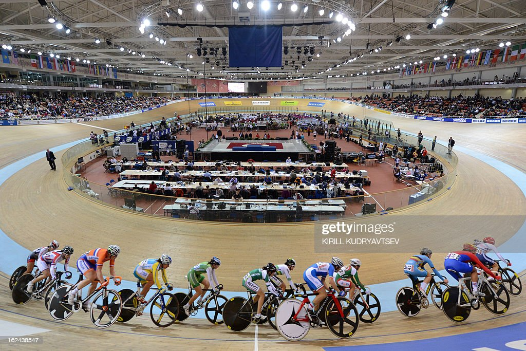 Cyclists compete on February 23, 2013 in the women's 25 kms Point Race of the UCI Track Cycling World Championships in Minsk.