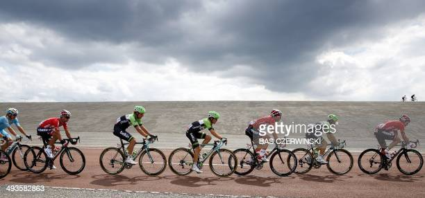 Cyclists compete on May 24 2014 near the Brouwersdam during the first stage of the World Port Classic cycling race from Rotterdam to Antwerp AFP...