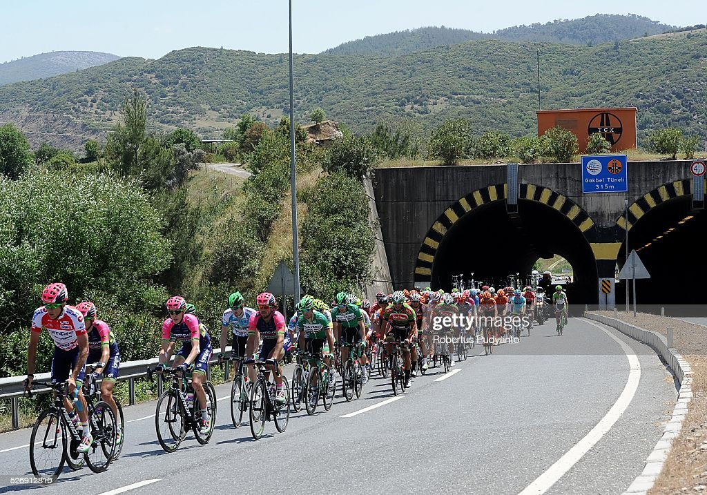 Cyclists compete pass trough Gokbel tunnel during Stage 8 of the 2016 Tour of Turkey, Marmaris to Selcuk (201.5 km) on May 1, 2016 in Marmaris, Turkey.