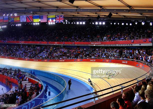 Cyclists competes during the Keirin Track Cycling Final on Day 11 of the London 2012 Olympic Games at Velodrome on August 7 2012 in London England