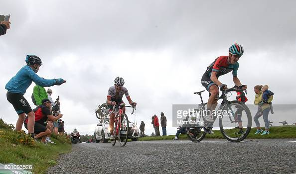 Cyclists competing in the Tour of Britain cycle towards the race finish of Stage Six at Haytor Rocks on Dartmoor near Newton Abbot 9 2016 in Devon...