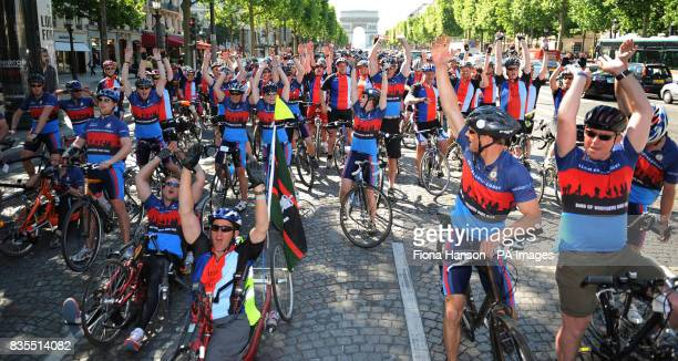 Cyclists from Headley Court the centre for wounded servicemen and women in Surrey front the Help for Heroes Band of Brothers bike riders up the...