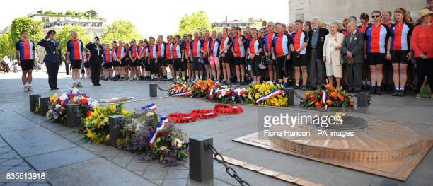 Cyclists from the Help for Heroes Band of Brothers bike riders attend a wreath laying ceremony at the Arc de Triomphe Paris before setting off to the...