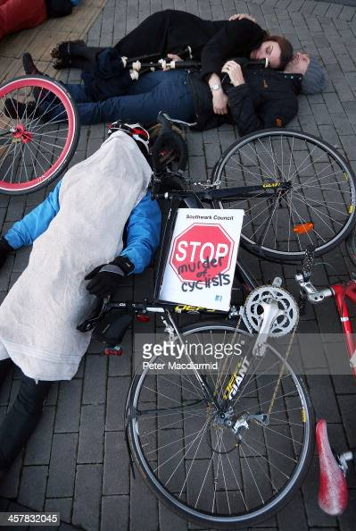 Cyclists hold a 'DieIn' protest at Vauxhall on December 19 2013 in London England Campaigning groups are calling for greater awareness of cyclists at...