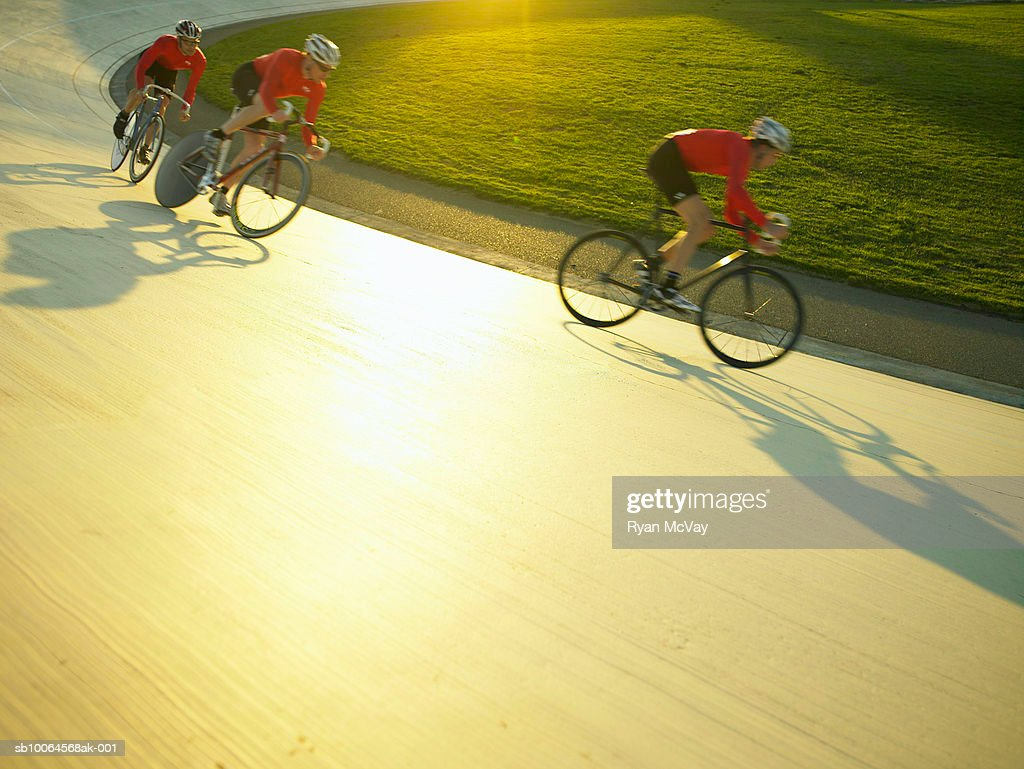 Cyclists in action on velodrome