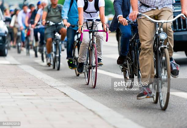 Cyclists in traffic