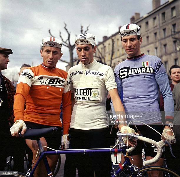 Cyclists Jacques Anquetil Eddy Merckx and Felice Gimondi all three winners of the Tour de France 1970